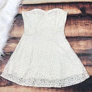 Lace White Cream Strapless Summer Dress